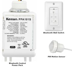 Bluetooth Control Pack with PPA101S Controller and optional Wall WP1015 Wall Switch and IFS105 PIR Sensor